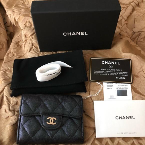 6ec22c5f Chanel 19S Black Iridescent Card Holder NWT